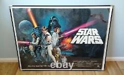 Star Wars (1977) Original Pre-oscars Uk Quad Movie Poster Rolled Unfolded