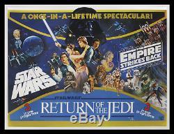 Star Wars Empire Strikes Back Retour Du Jedi 1983 Britannique Quad Affiche Film