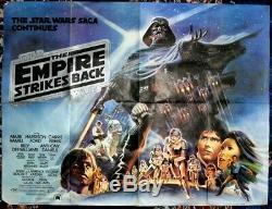 Star Wars Le Attaque Empire (1980) D'origine Affiche Du Film Quad Au Royaume-uni