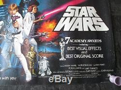 Star Wars Original Uk Quad Affiche Du Film (1978) Très Rare Star Wars Laminés Poster