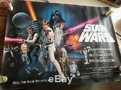 Star Wars Original Uk Quad Oscars Affiche Du Film Très Rare 1978 Rips Pas Roulées