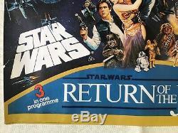 Star Wars Originale 1983 Triple Bill Film Quad Empire Contre-attaque Poster Rotj