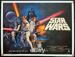 Star Wars Originale Affiche Du Film Britannique Quad Entoilée (30x40) C9 Near Mint