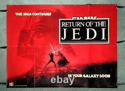 Star Wars Return Of The Jedi (1983) C. Affiche Originale Rare De Film De Quad D'avance Du R-u