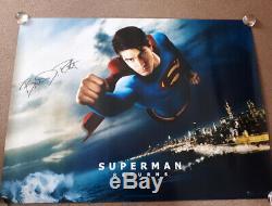 Superman Retour Signé Autographes Affiche Quad Cinéma Originale Brandon Routh B