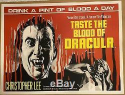Taste The Blood Of Dracula Uk Quad (1970) Entoilée Withcert Rare Affiche De Film