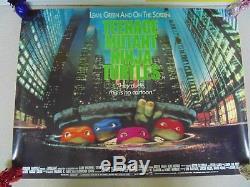 Teenage Mutant Ninja Turtles Original 1990 Rare Roulé Cinéma Film Quad Affiche