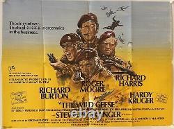 The Wild Geese Original Uk British Quad Film Poster (1978) Roger Moore & Burton