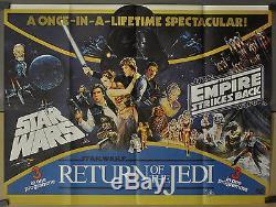 Trilogie Star Wars 1983 Orig. Affiche Du Film British Quad B 30x40 Mark Hamill