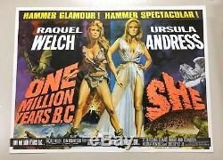Un Million D'années Av. J.-c. Et Elle 1966 Affiche De Film Originale Britannique Quad Hammer