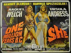 Un Million D'années B. C. / Elle 1968 Orig. Affiche De Film Britannique Quad 30x40