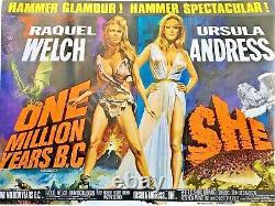 Un Million D'années Bc Original Quad Affiche De Cinéma Hammer Harryhausen Chantrell 68