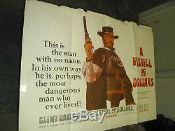 Une Poignée De Dollars / Orig. Affiche De Films Britanniques Quad Sergio Leone Et Clint Eastwood