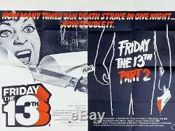 Vendredi Film Quad Original Double Bill 13'th Poster Horreur 1980
