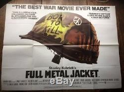 Veste En Métal Complet Affiche Du Film Quad Uk 1987 Stanley Kubrick Guerre Du Vietnam