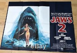 Vintage 1978 Jaws 2 Scheider Film Original Uk Quad Cinéma Poster Requin Horreur