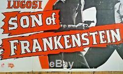 Vintage Fils De Frankenstein Britannique Affiche Quad 40 X 30 Classic Horror Film Film