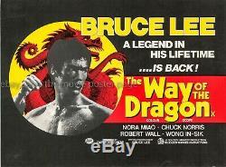 Voie Du Dragon 1972 Affiche Du Film Quad Bruce Lee Uk