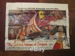 Voyage Fantastique De Sinbad D'origine Britannique Quad Ray Harryhausen Film D'affiche