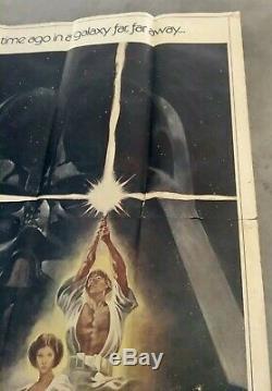 Wars Original Vintage Trois Étoiles 3 Fiche Film Quad Affiche Du Film 1977