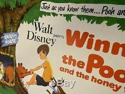 Winnie L'ourson Original Au Royaume-uni Affiche De Film Entoilée 1966 Disney Quad Withcert