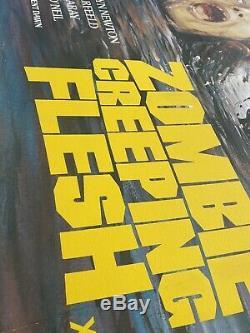 Zombie Creeping Flesh Uk Quad Entoilée (1980) Film Affiche Originale