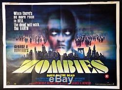 Zombies L'aube Des Morts 1980 Affiche Originale Du Film British Quad 30x40